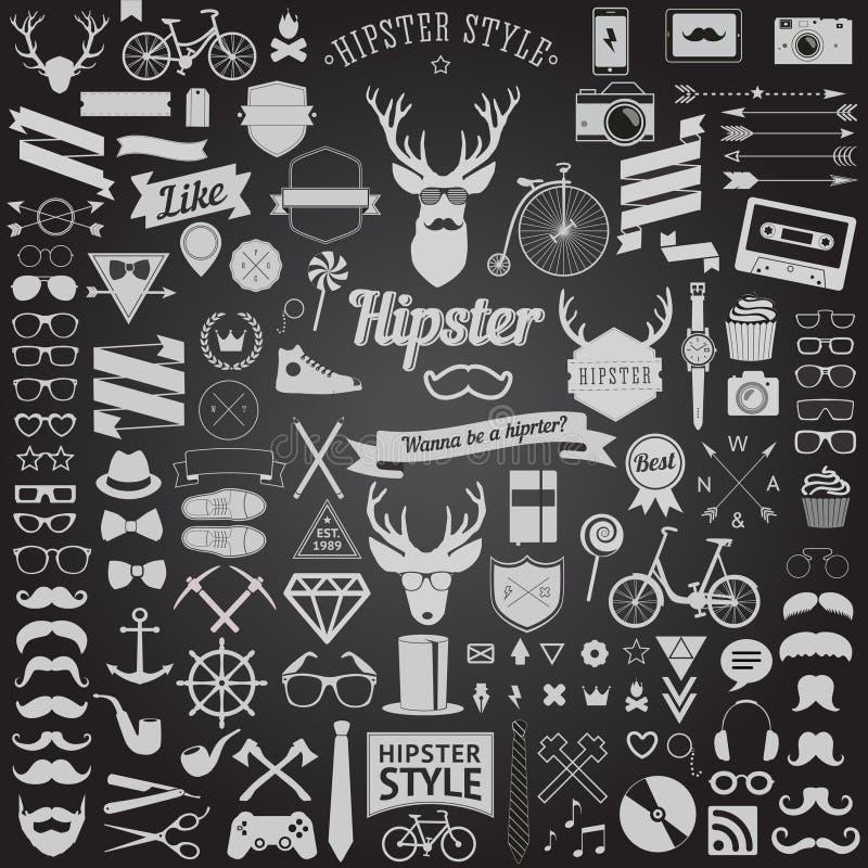 Insieme delle icone dei pantaloni a vita bassa di progettazione disegnate annata Segni di vettore e modelli di simboli royalty illustrazione gratis