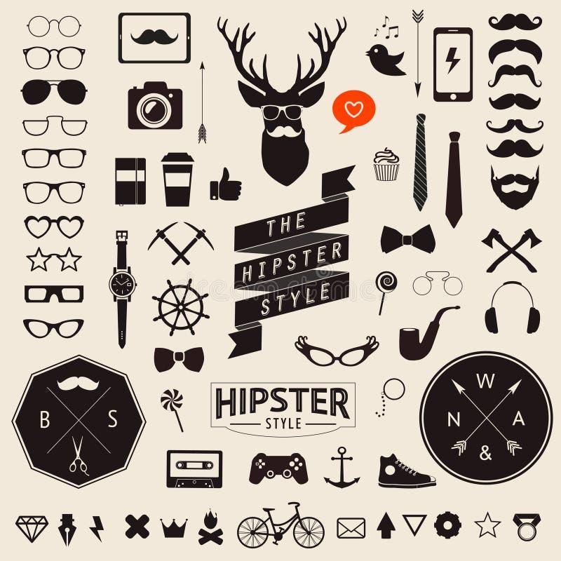 Insieme delle icone dei pantaloni a vita bassa di progettazione disegnate annata Segni di vettore e modelli di simboli illustrazione di stock