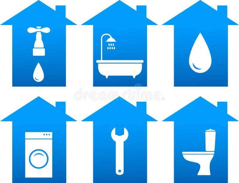 Insieme delle icone del bagno con la siluetta della casa illustrazione vettoriale