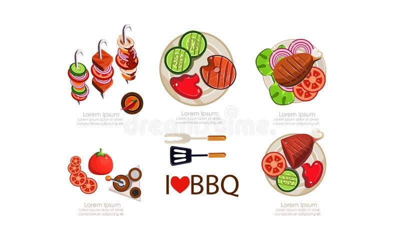 Insieme delle icone del barbecue, illustrazione arrostita di vettore degli elementi di progettazione del menu dell'alimento piana royalty illustrazione gratis