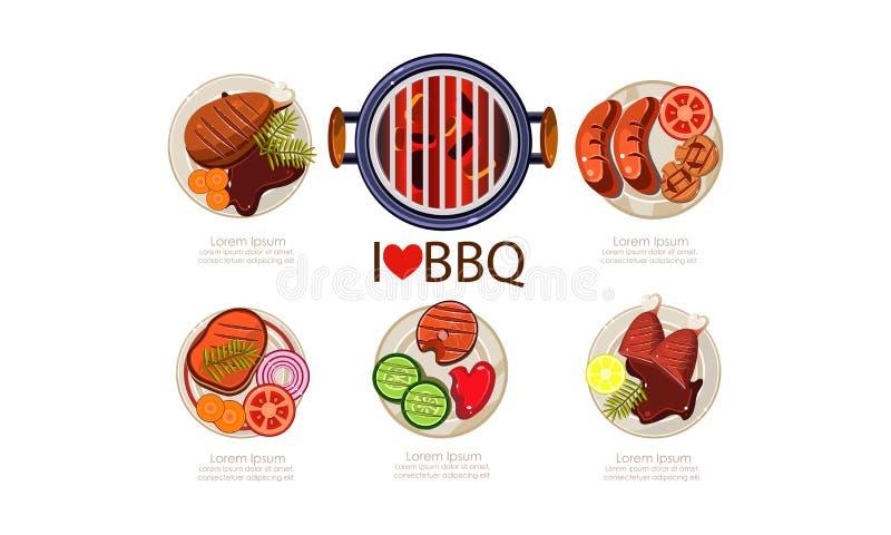 Insieme delle icone del barbecue, illustrazione piana di vettore del menu arrostito dell'alimento su un fondo bianco illustrazione di stock
