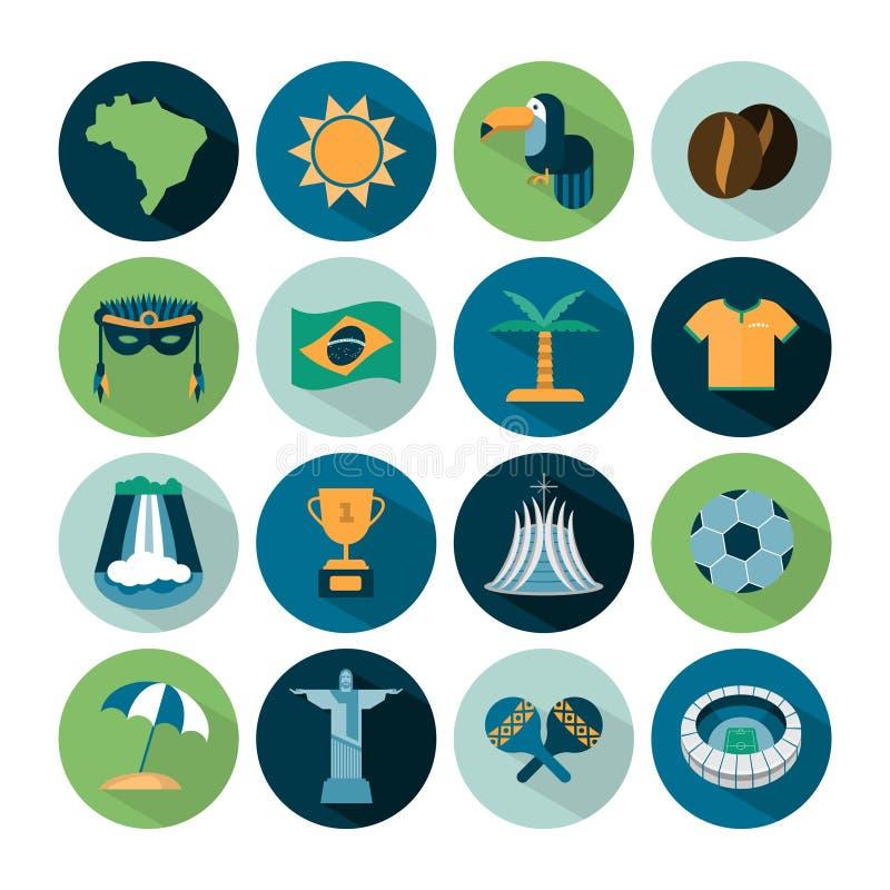 Insieme delle icone del Brasile di vettore royalty illustrazione gratis