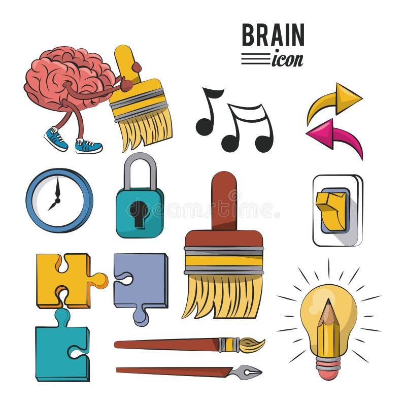 Insieme delle icone del cervello illustrazione vettoriale