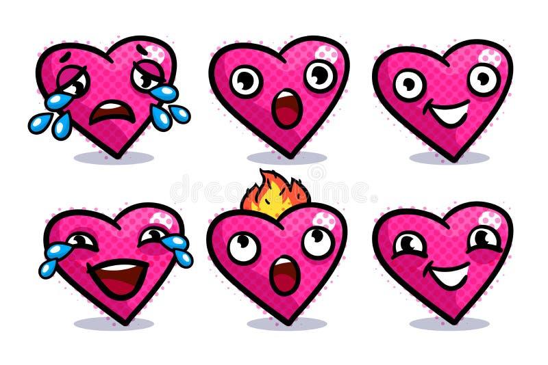 Insieme delle icone del cuore illustrazione di stock
