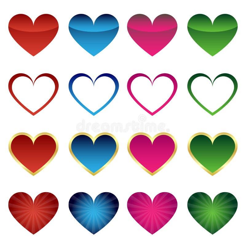 Insieme delle icone del cuore illustrazione vettoriale