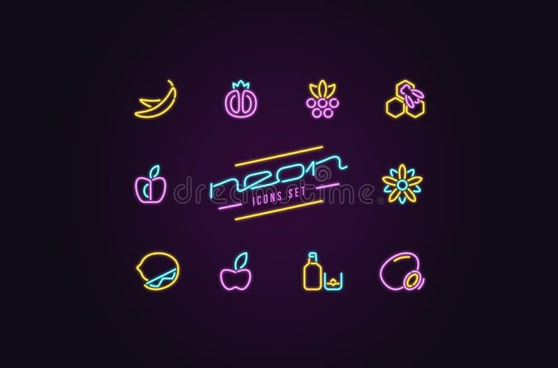 Insieme delle icone del dessert e della frutta sotto forma di lampade al neon illustrazione vettoriale