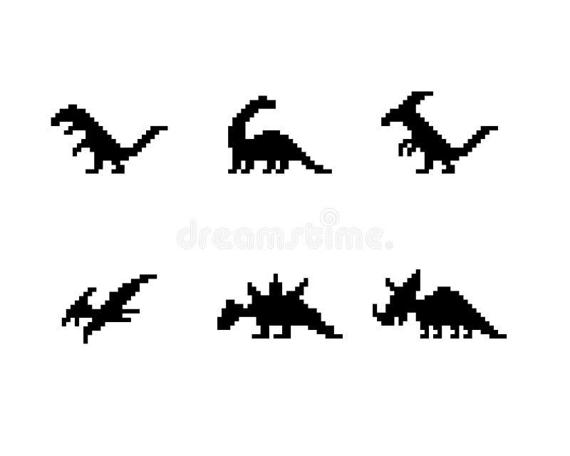 Insieme delle icone del dinosauro nello stile del pixel della siluetta royalty illustrazione gratis