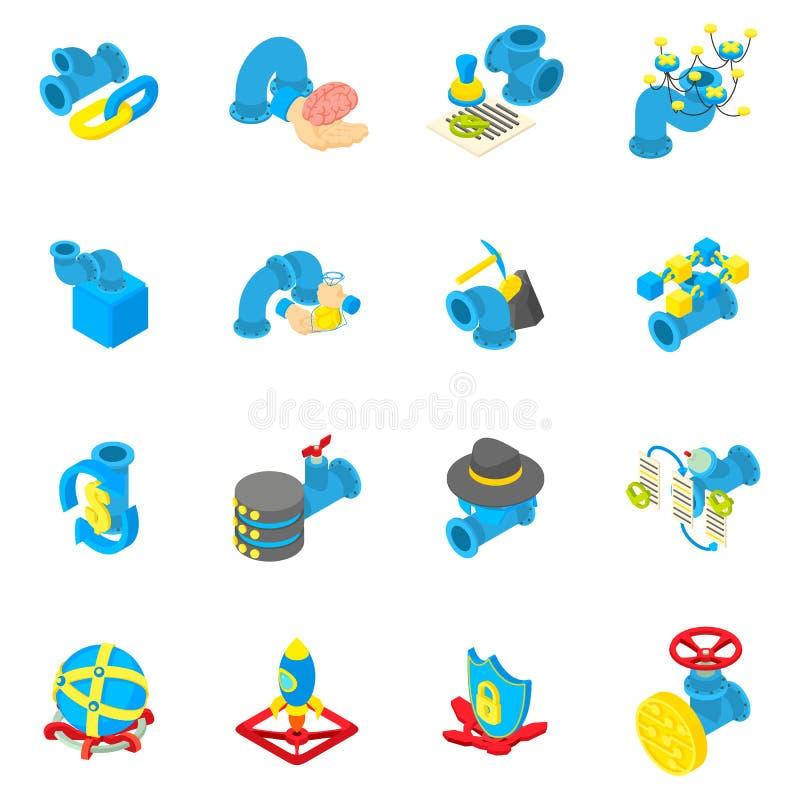 Insieme delle icone del flusso di cassa, stile isometrico illustrazione di stock