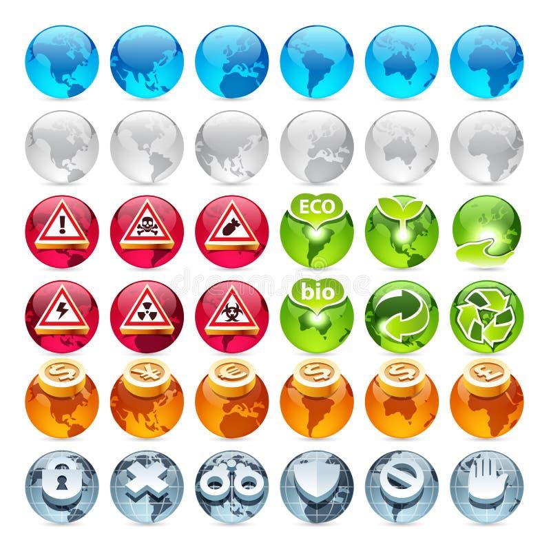 Insieme delle icone del globo illustrazione di stock