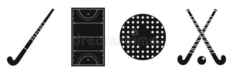 Insieme delle icone del hockey su prato dell'erba, stile semplice royalty illustrazione gratis