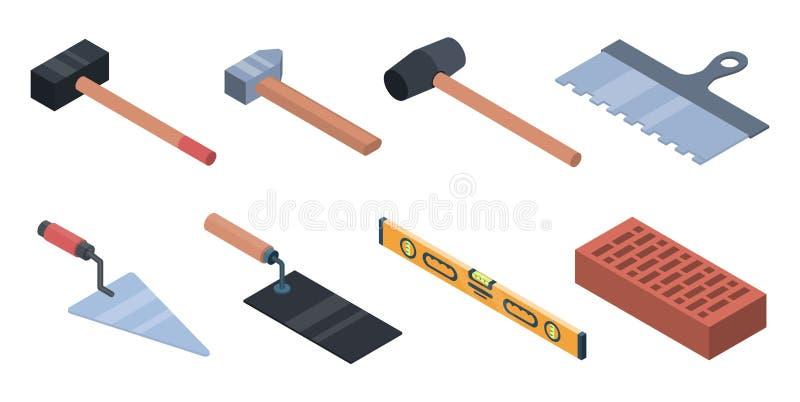 Insieme delle icone del lavoratore della muratura, stile isometrico illustrazione di stock