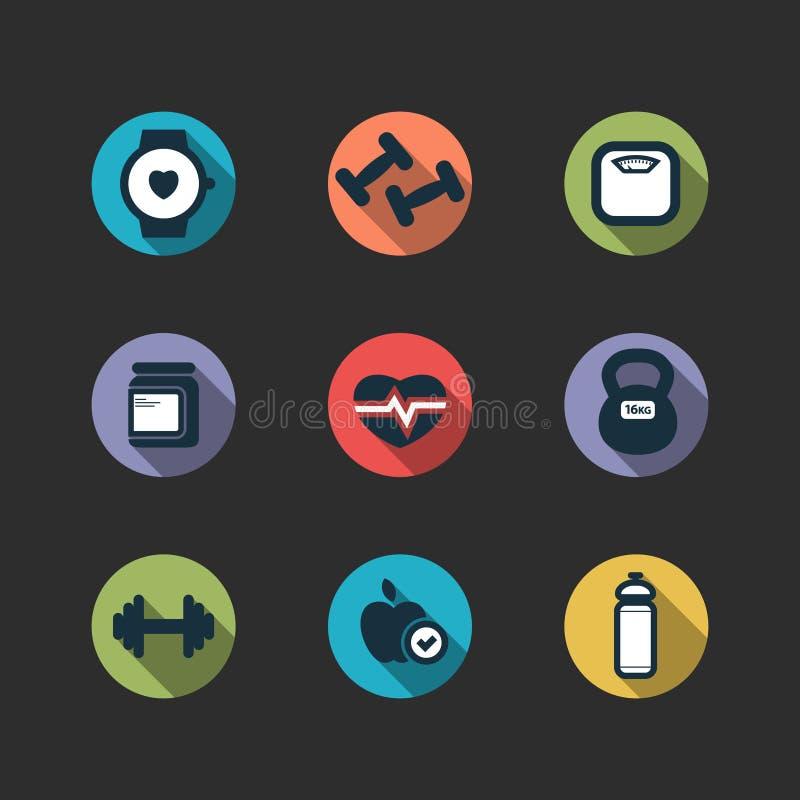 Insieme delle icone del longshadow di forma fisica di vettore royalty illustrazione gratis