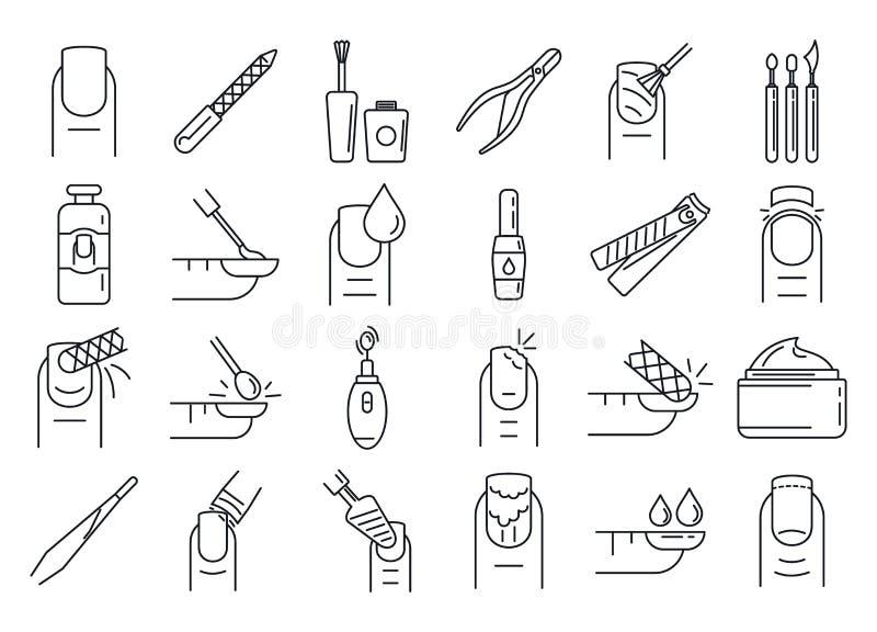 Insieme delle icone del manicure dell'unghia, stile del profilo royalty illustrazione gratis