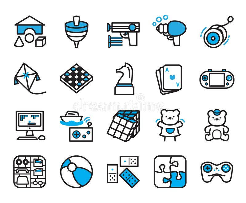 Insieme delle icone del mondo del giocattolo Insieme di progettazione dell'icona di vettore illustrazione vettoriale