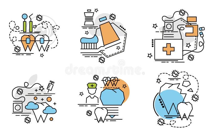 Insieme delle icone del profilo di stomatologia illustrazione di stock