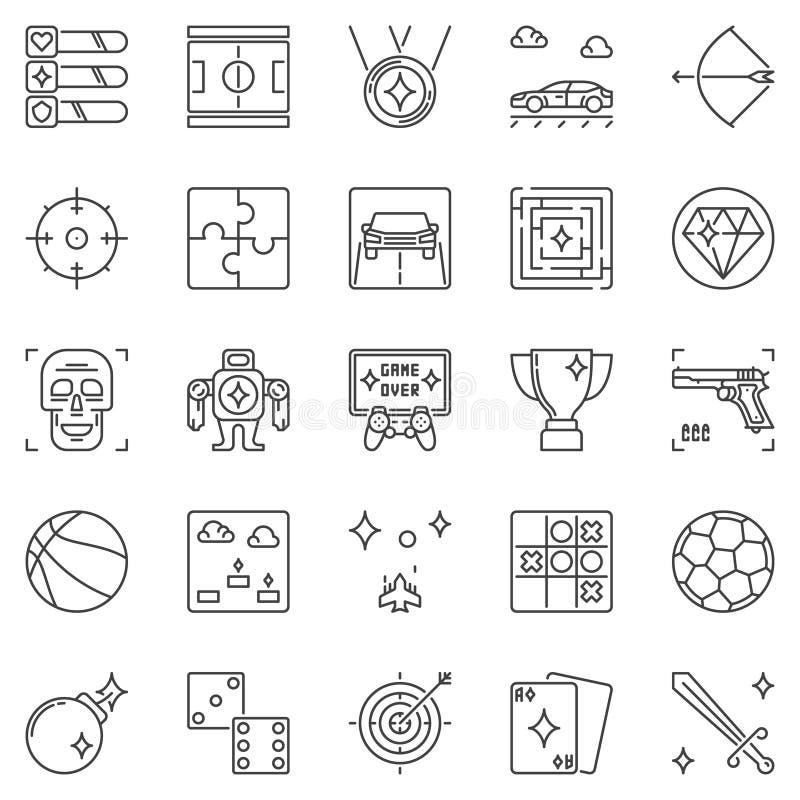 Insieme delle icone del profilo di vettore di spettacolo e dei video giochi illustrazione vettoriale