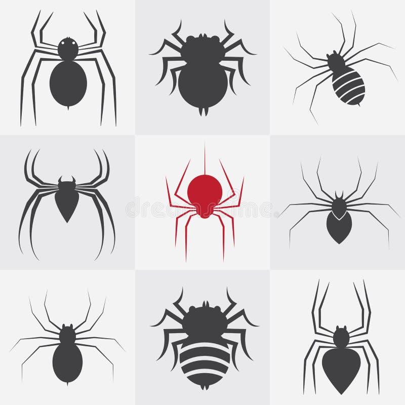 Insieme delle icone del ragno illustrazione vettoriale