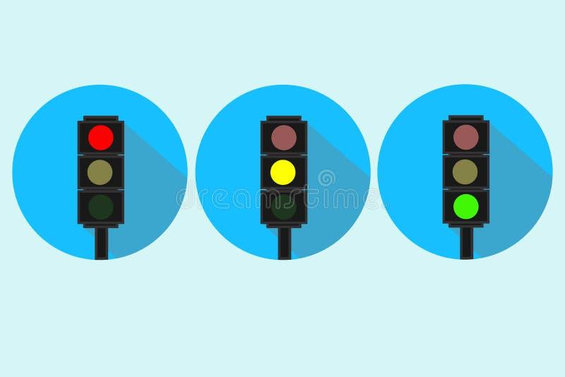 Insieme delle icone del semaforo Vettore blu del fondo royalty illustrazione gratis