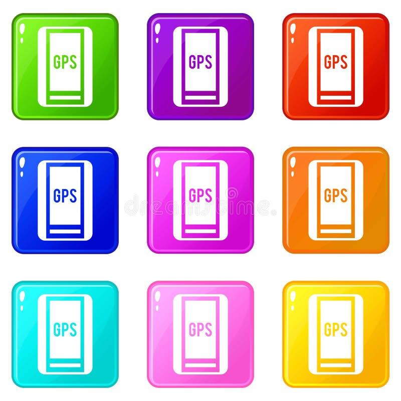 Insieme delle icone 9 del sistema di posizionamento globale illustrazione di stock