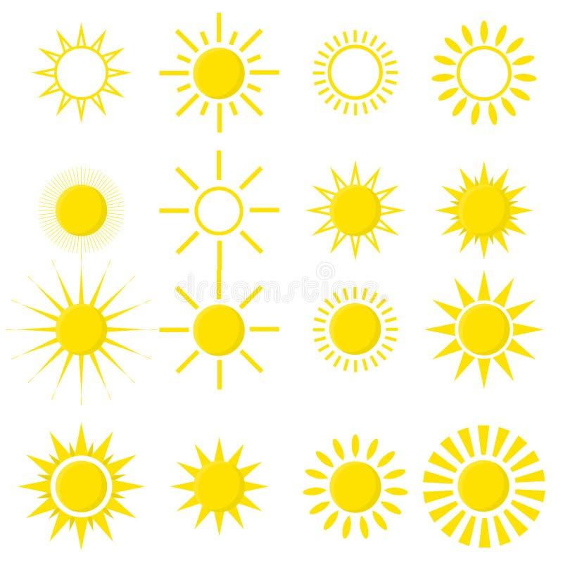 Insieme delle icone del sole isolate su fondo bianco royalty illustrazione gratis