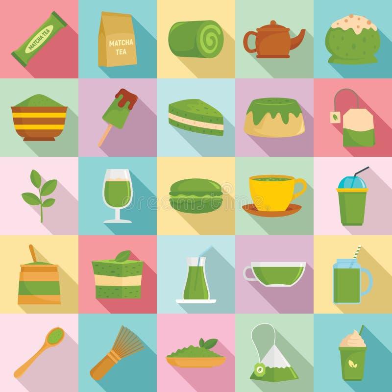 Insieme delle icone del tè di Matcha, stile piano illustrazione di stock