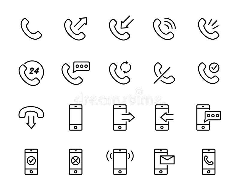 Insieme delle icone del telefono nella linea stile sottile moderna illustrazione vettoriale