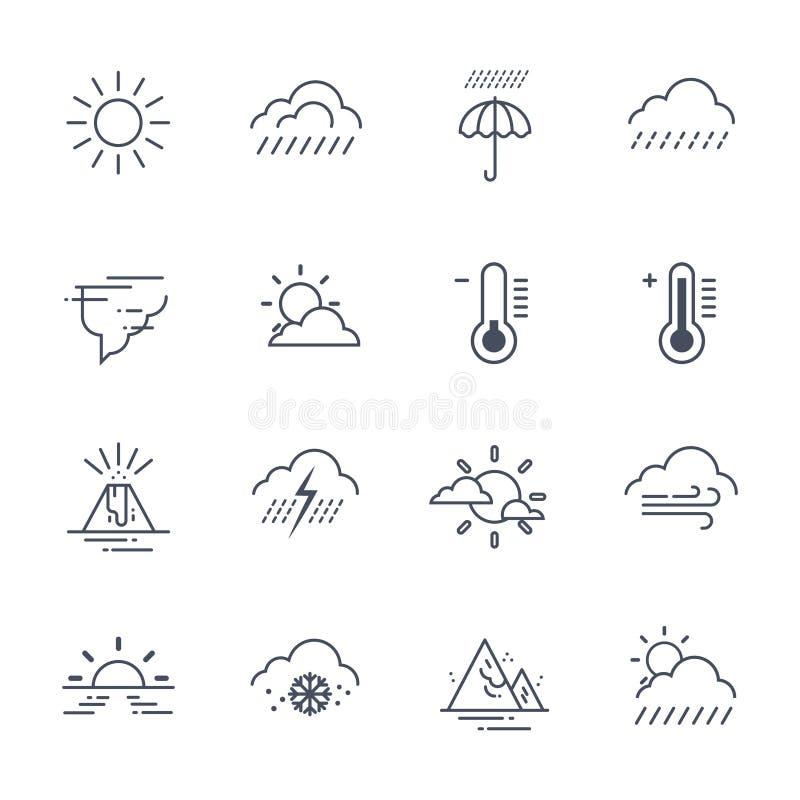 Insieme delle icone del tempo sulla raccolta bianca di previsione di clima del fondo illustrazione di stock