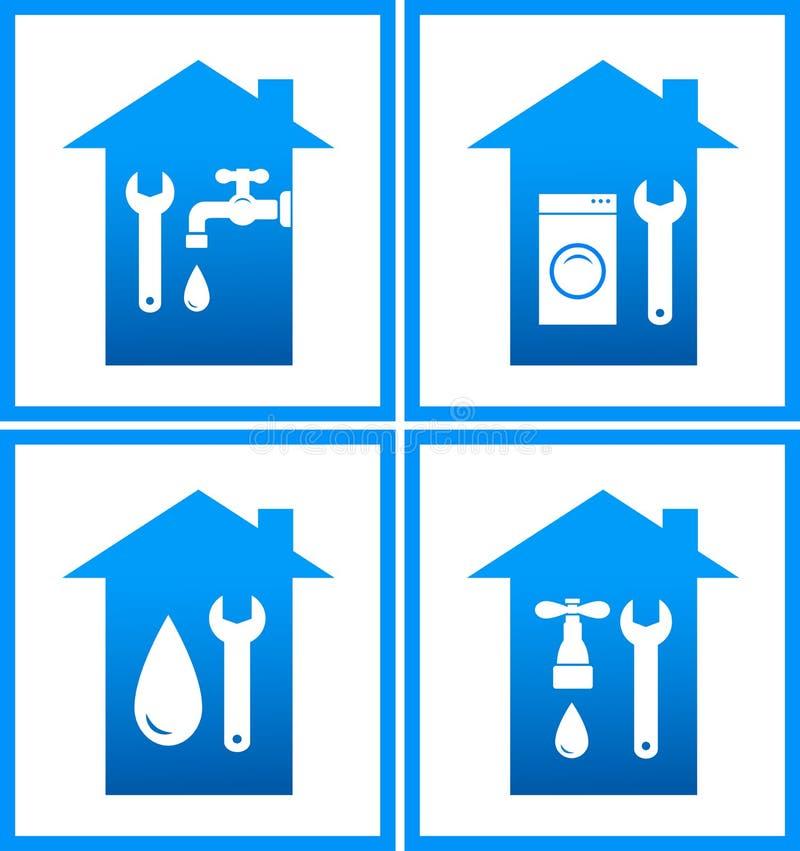 Insieme delle icone dell'acqua dell'impianto idraulico illustrazione vettoriale