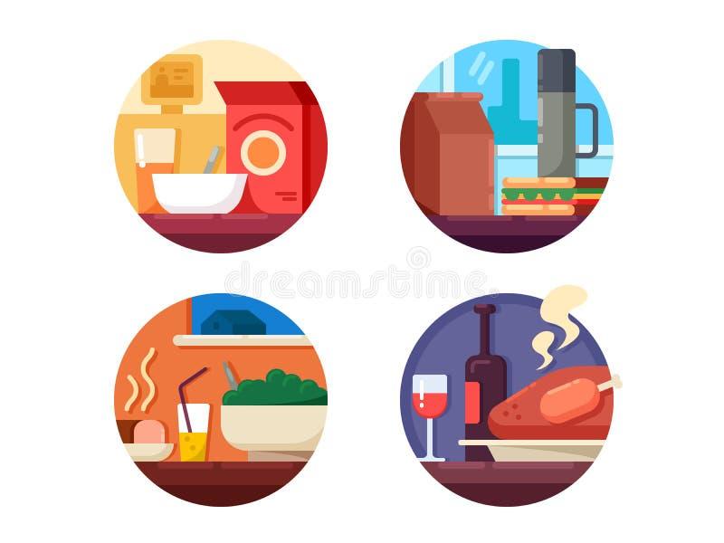 Insieme delle icone dell'alimento alla cena illustrazione vettoriale