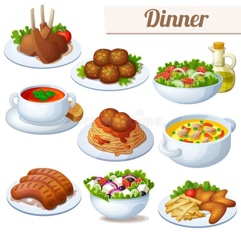 Insieme delle icone dell'alimento isolate su fondo bianco pranzo illustrazione vettoriale