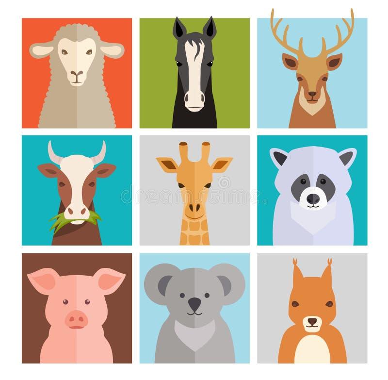 Insieme delle icone dell'animale di vettore royalty illustrazione gratis