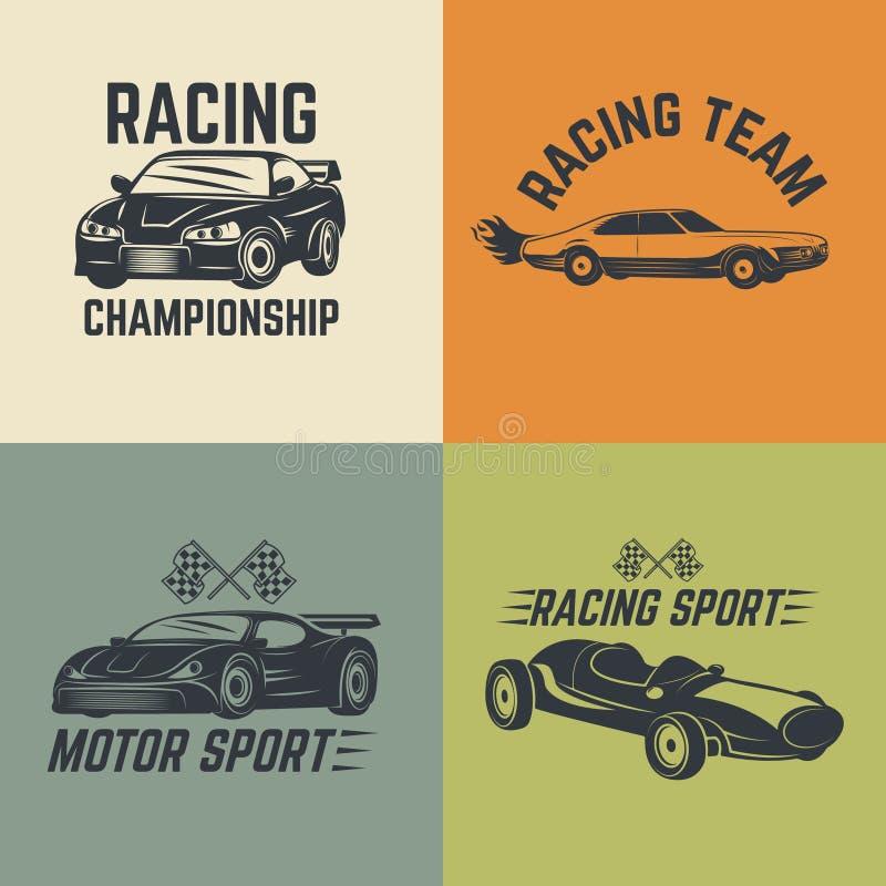 Insieme delle icone dell'automobile Sport di motore, corsa di automobile illustrazione di stock