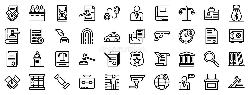 Insieme delle icone dell'avvocato, stile del profilo royalty illustrazione gratis