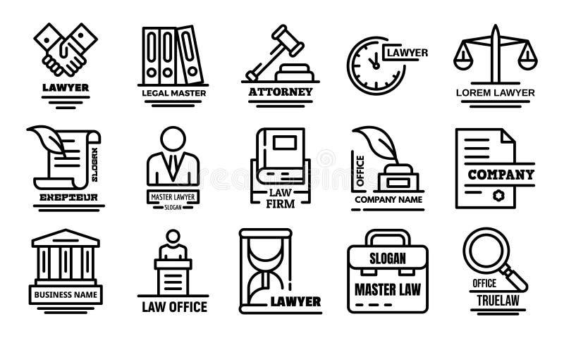 Insieme delle icone dell'avvocato, stile del profilo illustrazione di stock