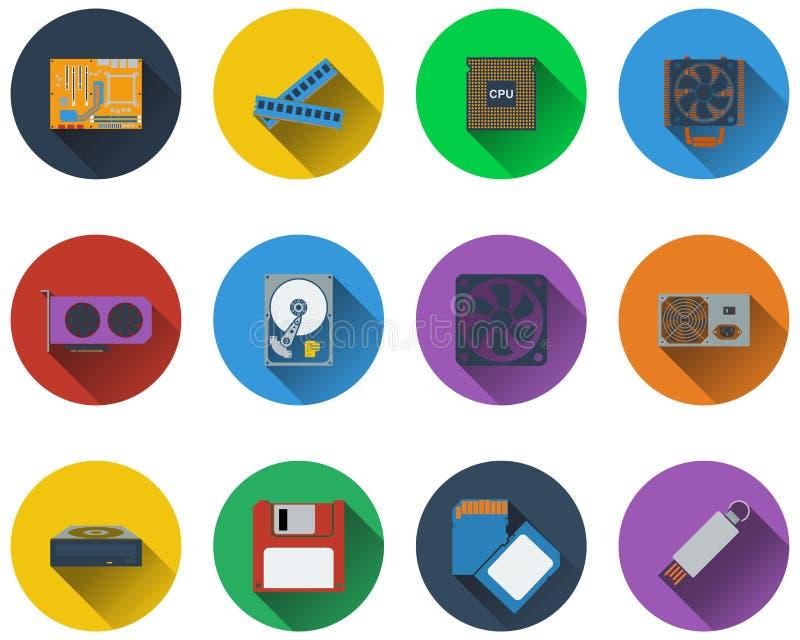 Insieme delle icone dell'hardware nella progettazione piana illustrazione di stock