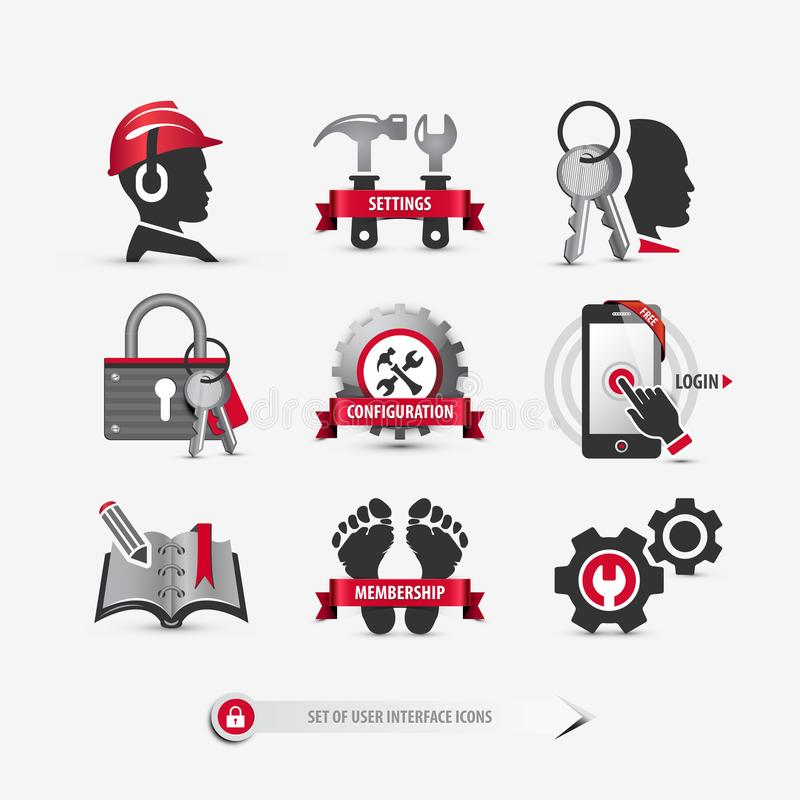 Insieme delle icone dell'interfaccia utente illustrazione vettoriale