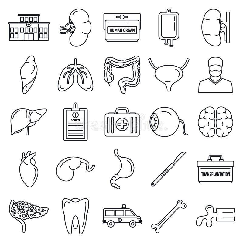 Insieme delle icone dell'organo di trapianto, stile del profilo royalty illustrazione gratis