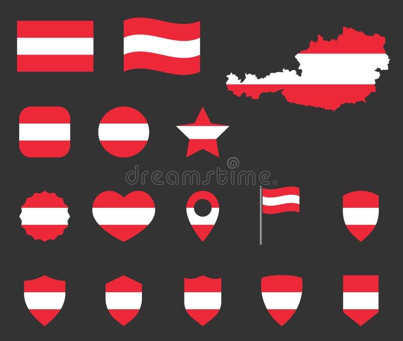 Insieme delle icone della bandiera dell'Austria, simboli della bandiera della Repubblica Austriaca royalty illustrazione gratis