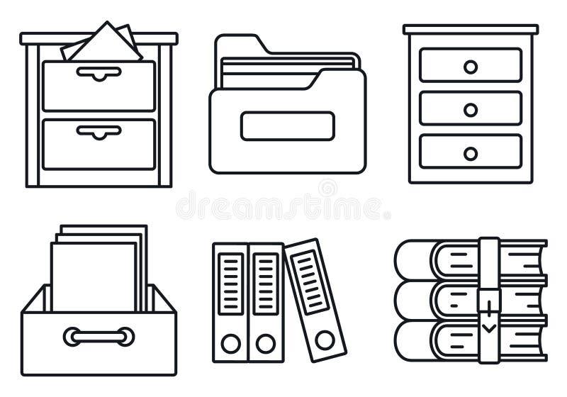 Insieme delle icone della biblioteca dell'archivio, stile del profilo royalty illustrazione gratis