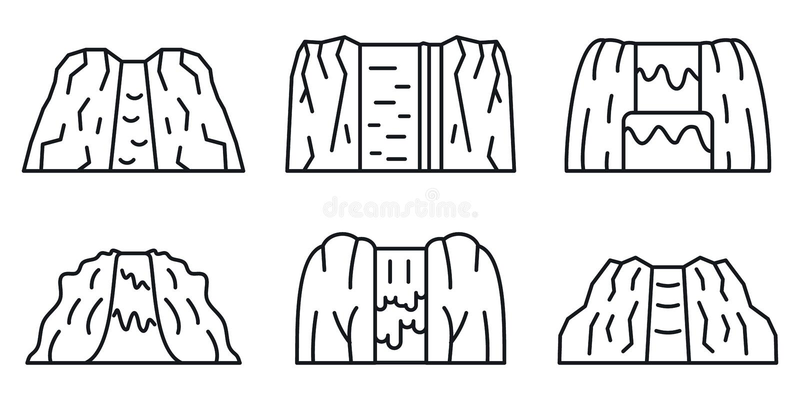 Insieme delle icone della cascata, stile del profilo illustrazione vettoriale