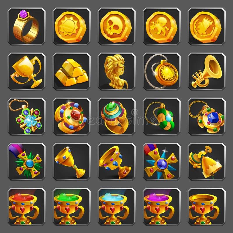 Insieme delle icone della decorazione per i giochi Ricompensa, tesoro, risultato e segno dorati illustrazione vettoriale