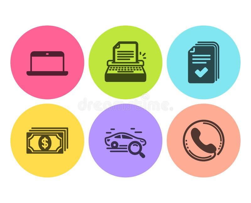 Insieme delle icone della dispensa, della macchina da scrivere e del computer portatile Automobile di ricerca, di pagamento e seg illustrazione di stock