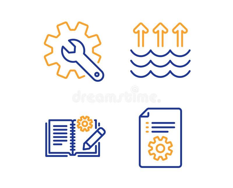 Insieme delle icone della documentazione di personalizzazione, di evaporazione e di ingegneria Segno tecnico della documentazione royalty illustrazione gratis