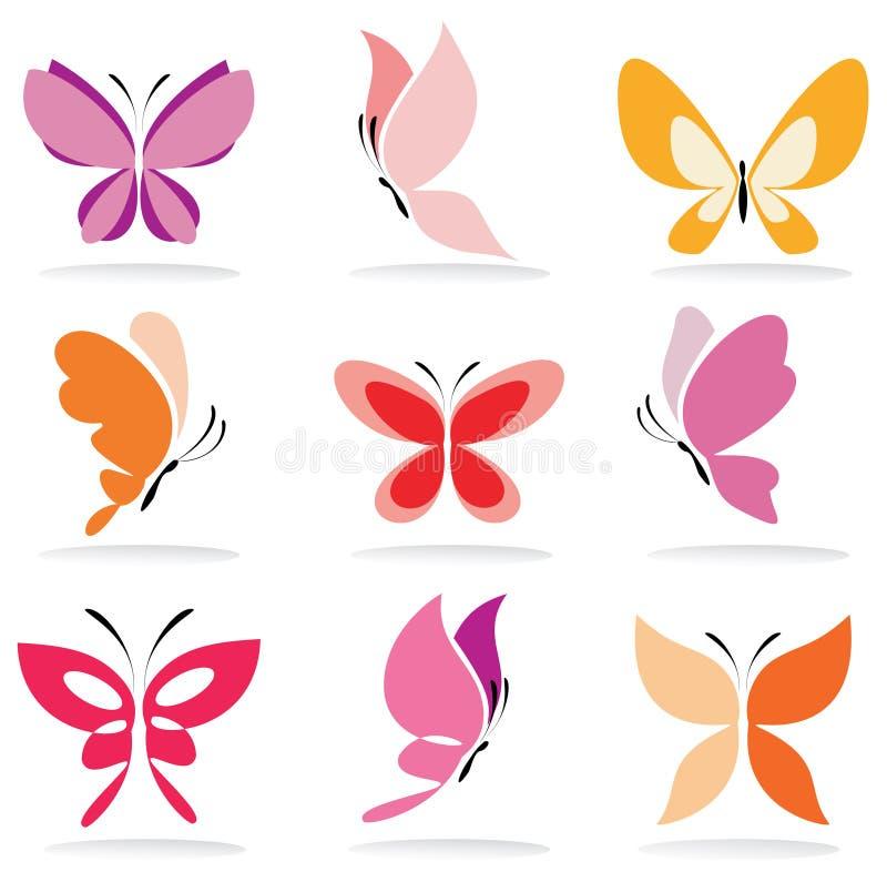 Insieme delle icone della farfalla illustrazione vettoriale