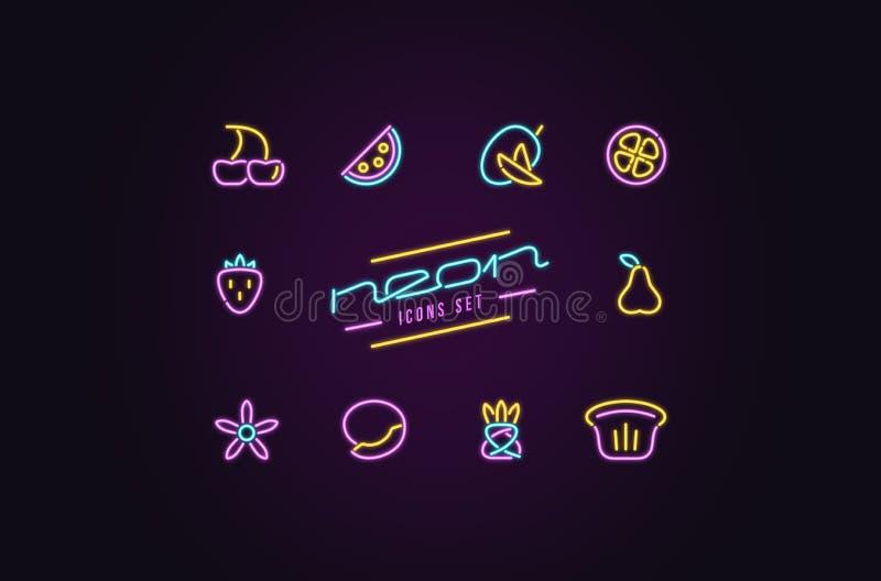 Insieme delle icone della frutta sotto forma di lampade al neon illustrazione vettoriale