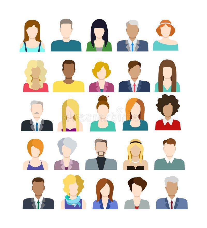 Insieme delle icone della gente nello stile piano con i fronti illustrazione vettoriale