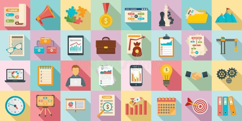 Insieme delle icone della gestione di flusso di lavoro, stile piano illustrazione di stock