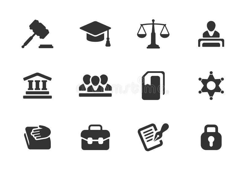 Insieme delle icone della giustizia e di legge illustrazione di stock