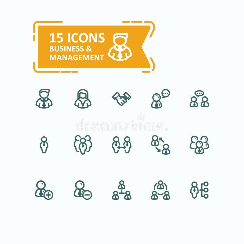 Insieme delle icone della linea sottile delle illustrazioni di vettore, raccolta della gente di affari delle icone, direzione del royalty illustrazione gratis
