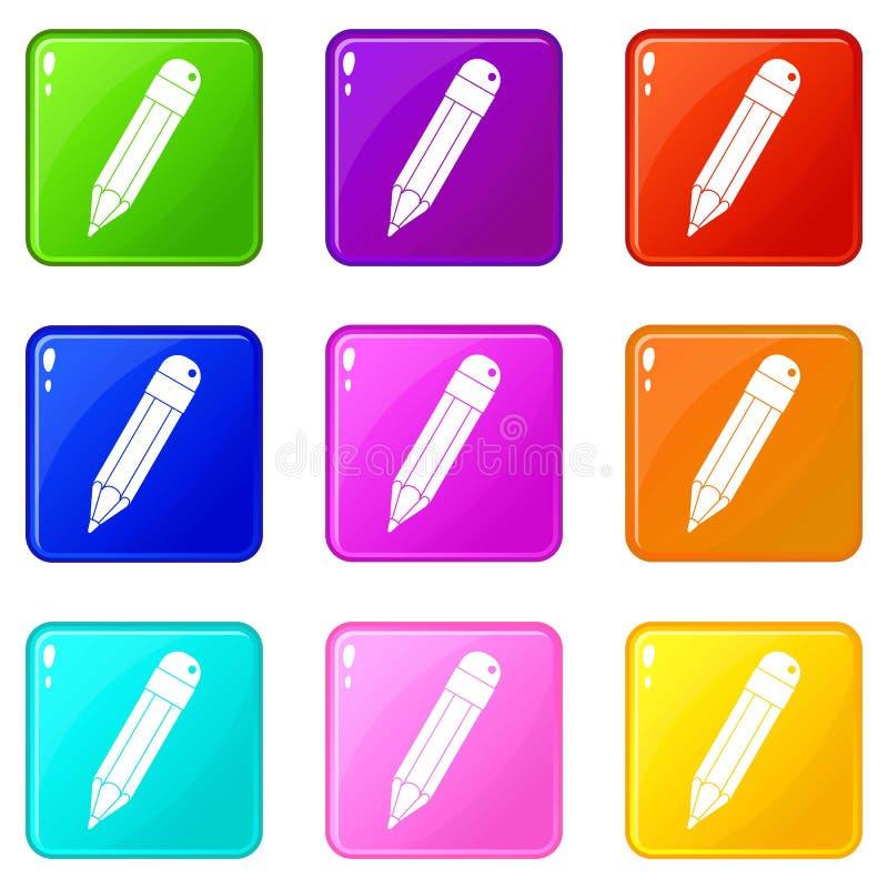 Insieme delle icone 9 della matita illustrazione di stock
